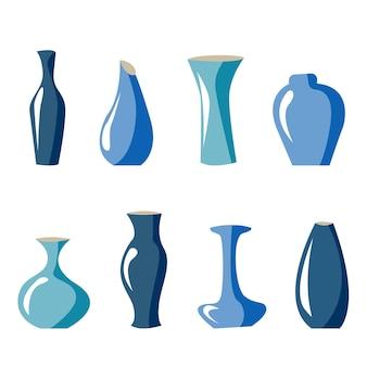 Conjunto de vasos azuis ilustração vetorial abstrato de estoque de louça de vaso de flor