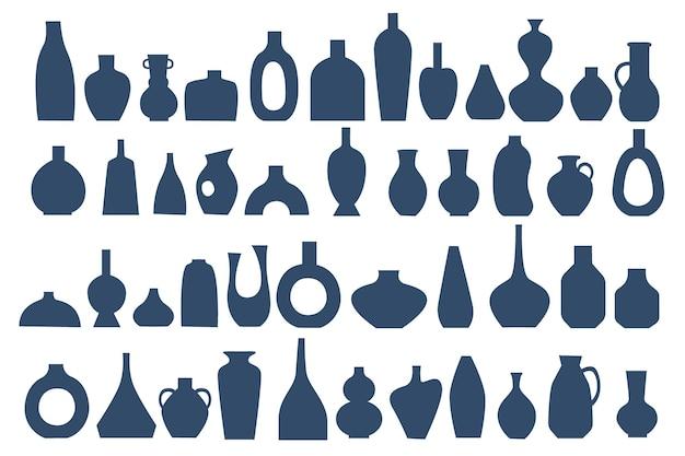 Conjunto de vasos de cerâmica. silhuetas de jarros monocromáticos. estilo boho. ilustração isolada no branco