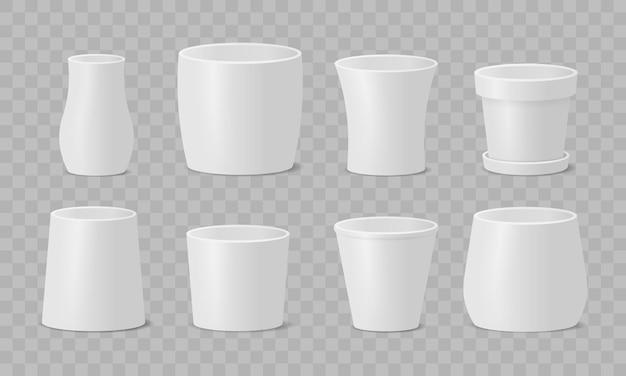 Conjunto de vasos de flores design de cerâmica