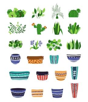 Conjunto de vasos de plantas em casa ou flores e vasos
