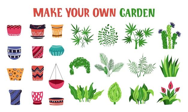 Conjunto de vasos de plantas, flores, jardim de casa, flat