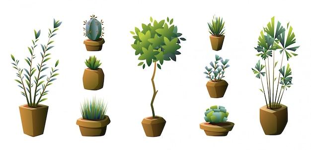 Conjunto de vasos de plantas. vetor.