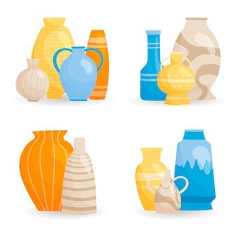 Conjunto de vasos elegantes isolados, decorações de interiores de várias formas e tamanhos. coleção de produtos cerâmicos.