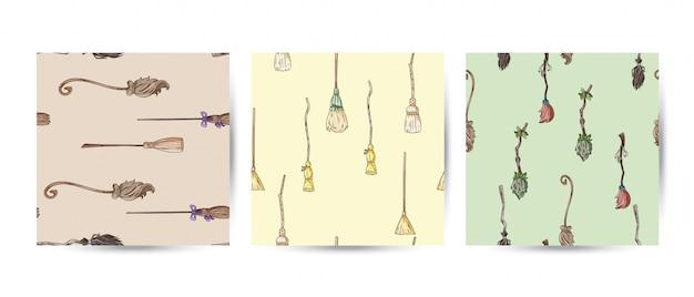 Conjunto de vassoura doodles padrões sem emenda
