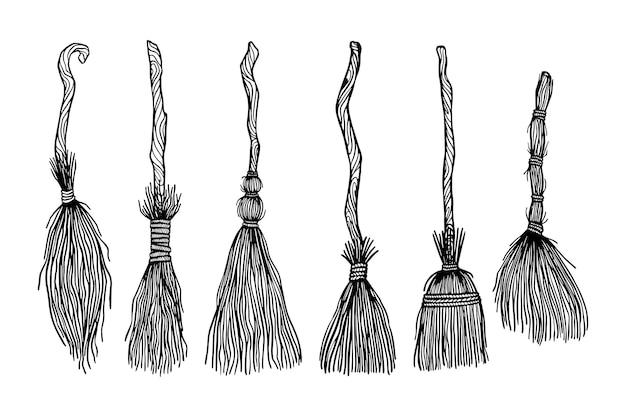 Conjunto de vassouras de bruxa conjunto de ilustrações desenhadas à mão livre