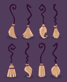 Conjunto de vassouras mágicas voadoras