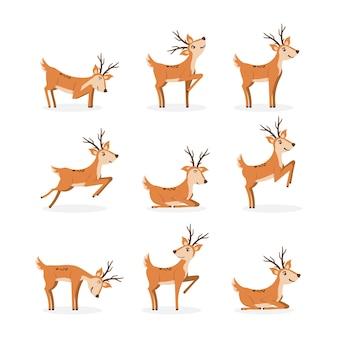 Conjunto de veado marrom correndo e pulando. veados bonitos dos desenhos animados estilizados isolados em um fundo branco. projeto animal do personagem de desenho animado.