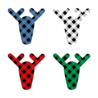 Conjunto de veados com enfeites de xadrez buffalo em vermelho, verde, azul e preto