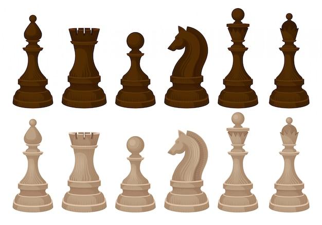 Conjunto de vecror plana de peças de xadrez. figuras de madeira marrons e bege. jogo de tabuleiro estratégico