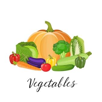 Conjunto de vegetais com abóbora, brócolis, tomate, pimentão, repolho, abobrinha, berinjela, cenoura, pepino
