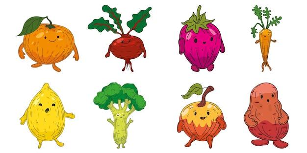 Conjunto de vegetais com personagens desenhados à mão coleção de desenhos animados laranja beterraba raiz morango cenoura