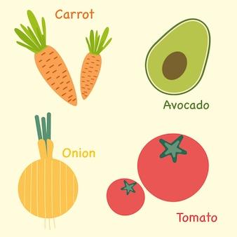 Conjunto de vegetais de cenouras, abacate, cebolas e tomates, gráfico vetorial