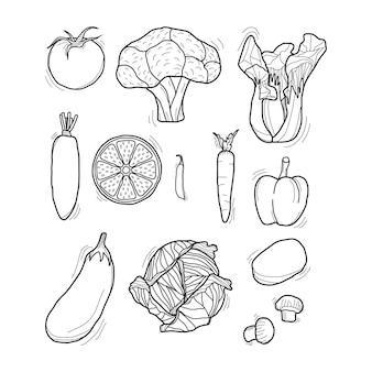 Conjunto de vegetais desenhados à mão em preto e branco
