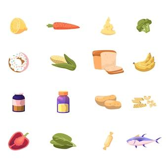 Conjunto de vegetais e alimentos