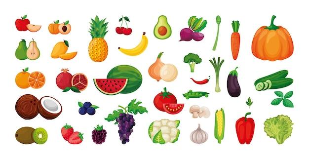 Conjunto de vegetais e frutas isolado sobre fundo branco. ilustração vetorial