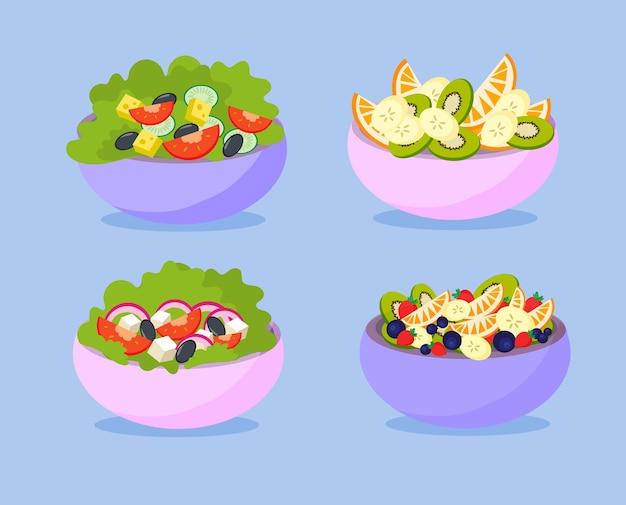 Conjunto de vegetais e saladas de frutas