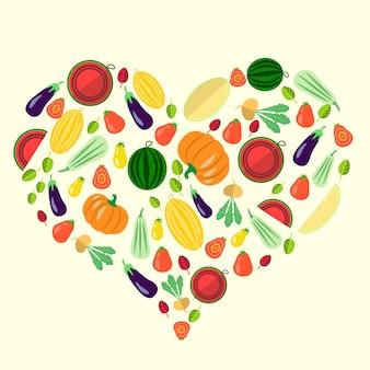 Conjunto de vegetais em forma de coração