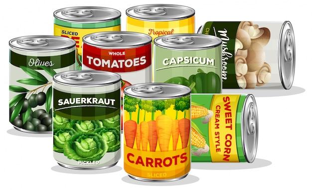 Conjunto de vegetais enlatados