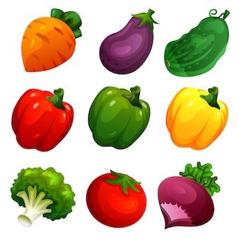 Conjunto de vegetais fofo