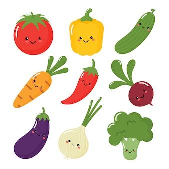 Conjunto de vegetais fofos em estilo kawaii