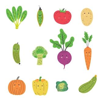 Conjunto de vegetais fofos