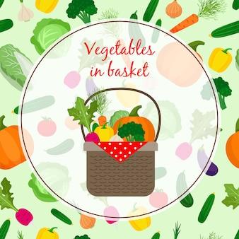 Conjunto de vegetais frescos orgânicos na cesta