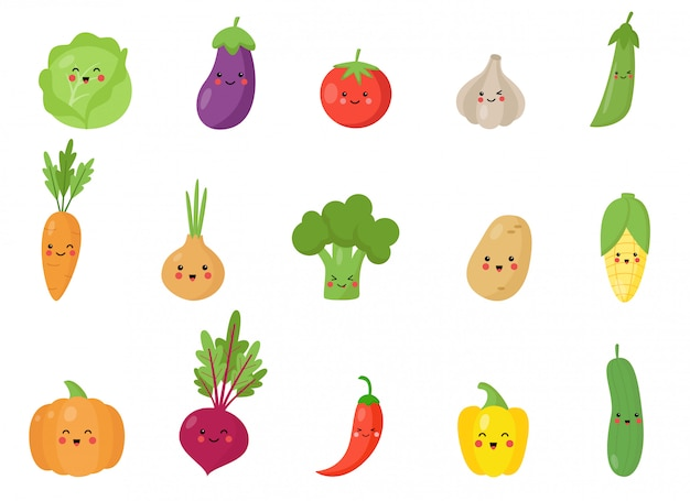 Conjunto de vegetais kawaii bonito e feliz.