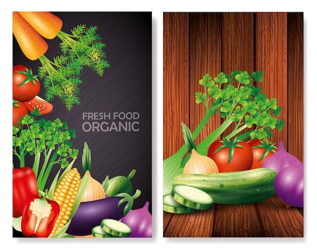 Conjunto de vegetais orgânicos frescos, comida saudável, estilo de vida saudável ou dieta
