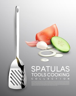 Conjunto de vegetais realistas e utensílios de cozinha com espátula tomate pepino cebola