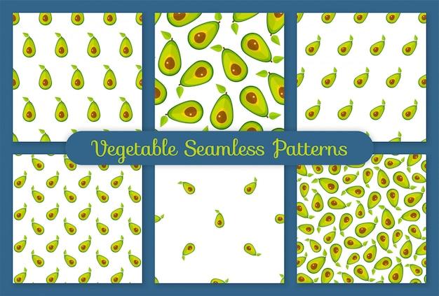 Conjunto de vegetais sem costura padrão abacate verde
