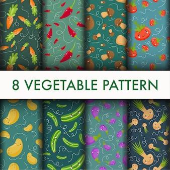 Conjunto de vegetais sem costura padrão.