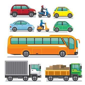 Conjunto de veículo. carro, moto, ônibus e caminhão