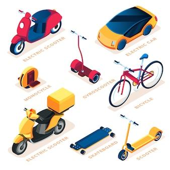 Conjunto de veículo de transporte ecológico ou ecológico.