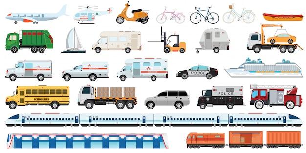 Conjunto de veículo transportável.
