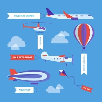 Conjunto de veículos aéreos com banner de publicidade