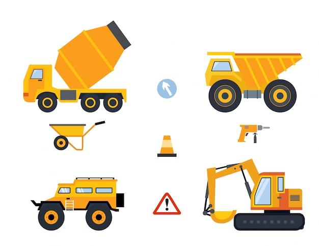 Conjunto de veículos amarelos, diferentes tipos de ferramentas e caminhões de construção.
