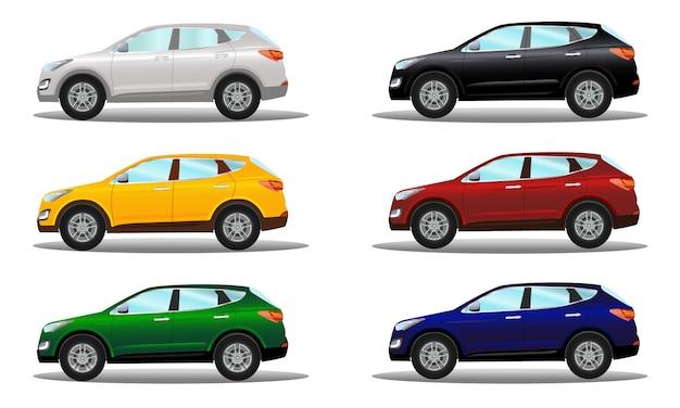 Conjunto de veículos crossover em uma variedade de cores