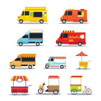 Conjunto de veículos de comida de rua e fast food