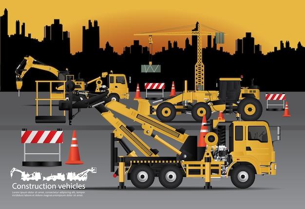 Conjunto de veículos de construção com ilustração vetorial de fundo de construção