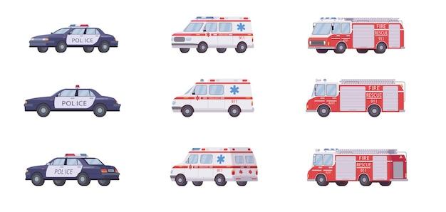 Conjunto de veículos de emergência 911