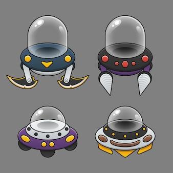 Conjunto de veículos de jogo de ovnis em ilustração estilo cartoon