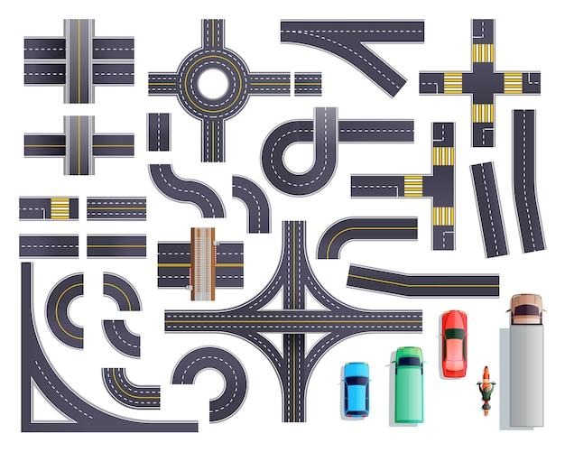 Conjunto de veículos de peças de estrada