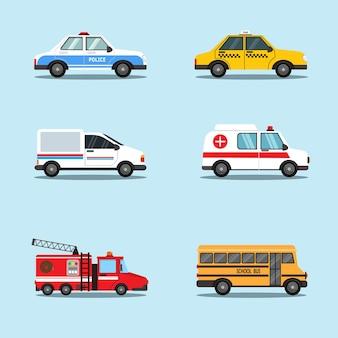 Conjunto de veículos de transporte, como carro de polícia, táxi, ônibus escolar, caminhão de bombeiros, ambulância e van