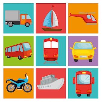 Conjunto de veículos de transporte