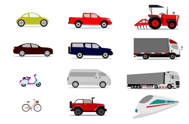 Conjunto de veículos no fundo branco, coleção isolada de transporte