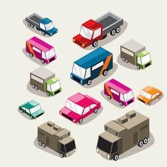 Conjunto de veículos plana