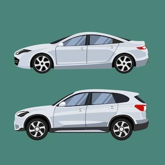 Conjunto de veículos suv e sedan em vista lateral.