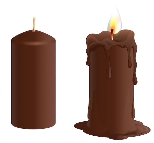 Conjunto de vela de chocolate marrom. vela queima e derrete