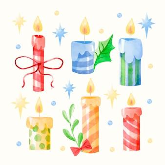 Conjunto de vela de natal em aquarela