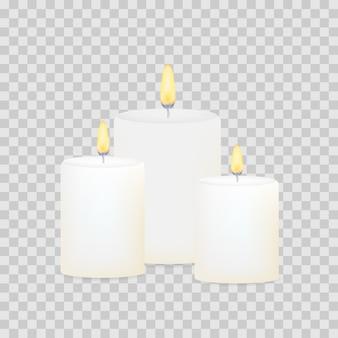Conjunto de velas acesas. paus de vela cilíndricos redondos decorativos aromáticos.